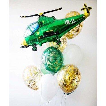 Шары с конфетти и вертолёт на день защитника отечества