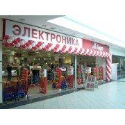 Примеры оформления магазина гирляндой и аркой.