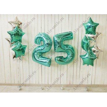 Композиция на юбилей с фольгированными цифрами 2 и 5