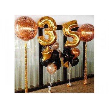 Оформление шариками юбилея 35 лет с гигантами с конфетти