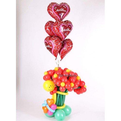 Букет цветов из шаров и фольгированные сердечки