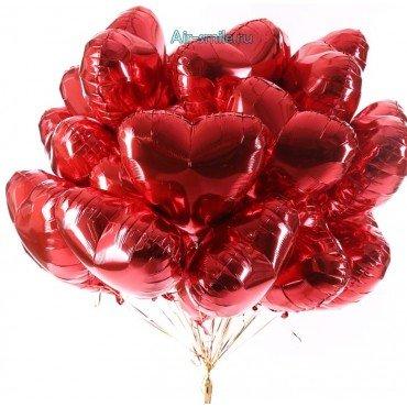 Фольгированные красные сердц