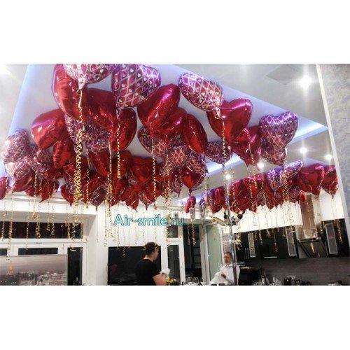 100 фольгированных сердец на 14 февраля для девушки