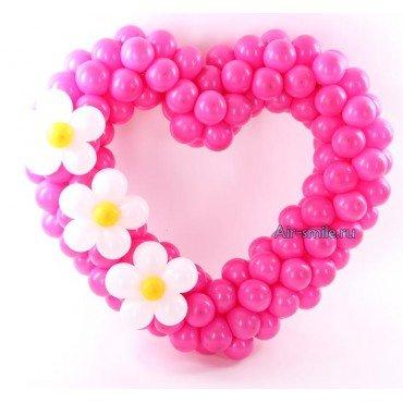 Сердце из шаров на день святого валентина