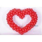 Красное сердце из шариков для любимого человека