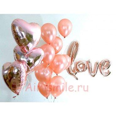 """Фольгированные шарики для влюблённых и надпись love"""""""