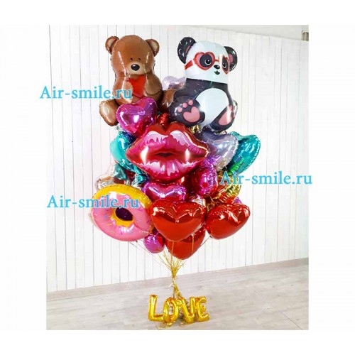 Букет фольгированных шаров для влюбленных