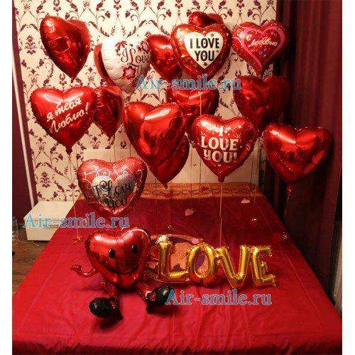 Воздушные шарики для влюбленных романтика
