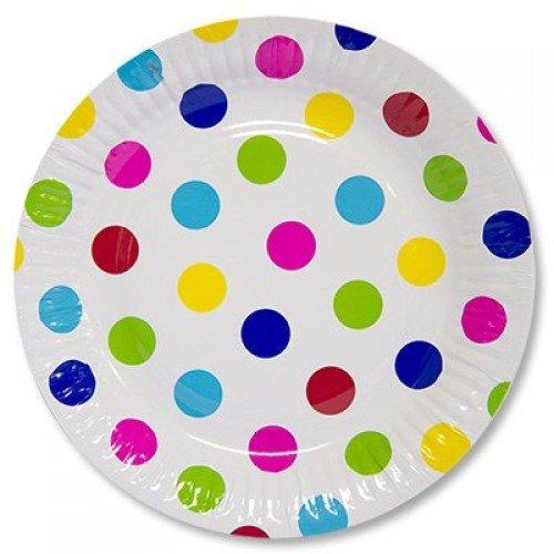 Набор тарелок из бумаги цветной горох