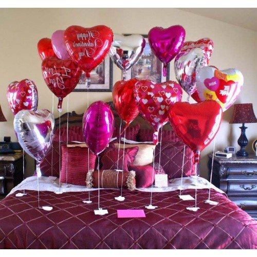 Фольгированные шары с рисунком и без рисунка на день всех влюбленных в квартиру
