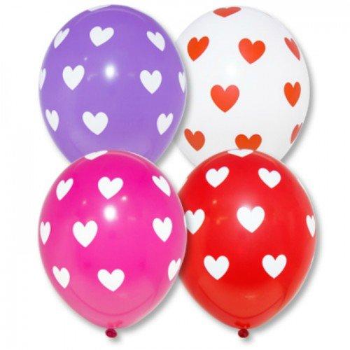 Шары разноцветные с сердечками на 14 февраля