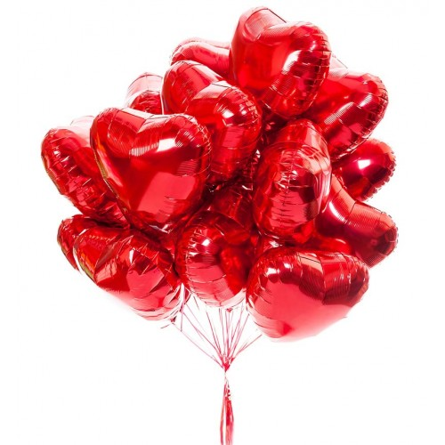 Красные фольгированные сердца на 8 марта для любимой