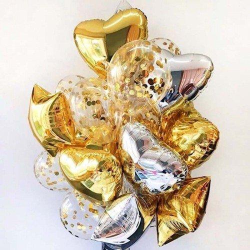 Фонтан из шаров на 8 марта с сердцами