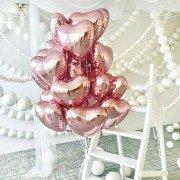 Фольгированные сердца розовое золото на 8 марта 20 шт.