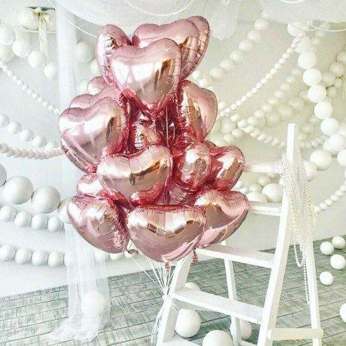 Фольгированные сердца розовое золото для жены