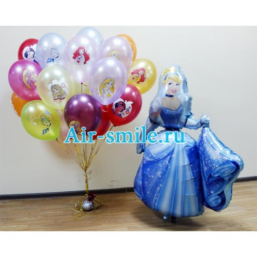 Букет из шаров с принцессами и ходячий шарик Золушка