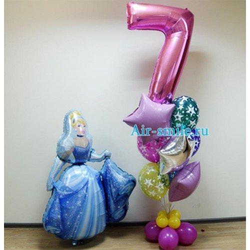 Воздушные шары на 7 лет с ходячей фигурой Золушка