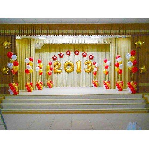 Фонтаны из шаров и цифры на выпускной