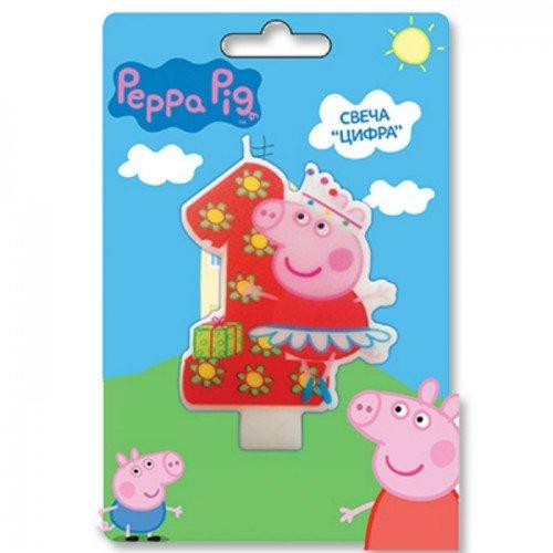 свеча 1 с героями Свинка Пеппа