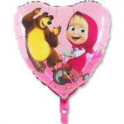 """Шар 18"""" Маша и Медведь в сердце"""