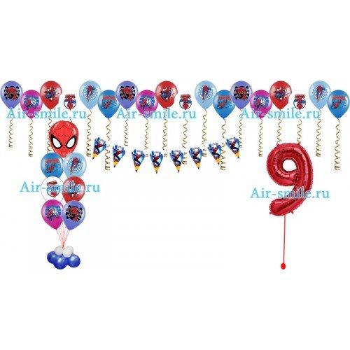 Украшение воздушными шариками с человеком пауком и гирлянда