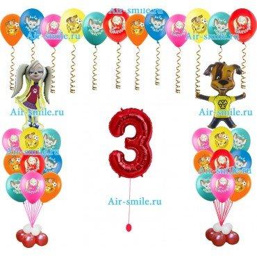 Букеты из шаров с Барбоскиными и фольгированная цифра 3