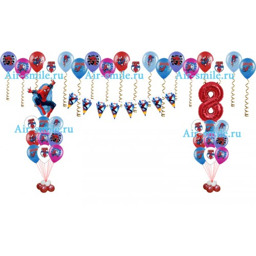 Украшение шарами в стиле человека паука с гирляндой