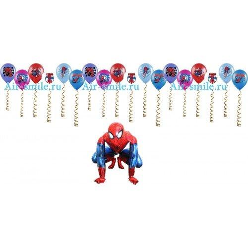 Шарики под потолок с человеком пауком и ходячий шар