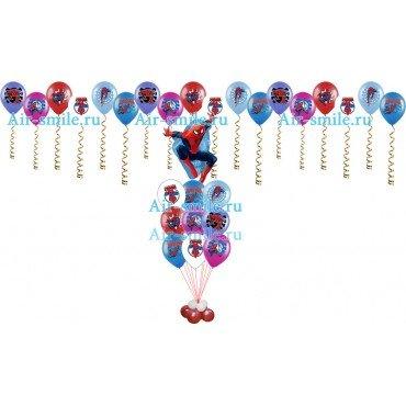 Букет из воздушных шариков с фигурой человека паука и шары под потолок