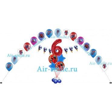 Оформление шарами с человеком пауком Дня Рождения 6 лет