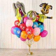 """Композиция с фольгированными шарами Лиза и Дружок Барбоскины """"С Днем рождения!"""""""