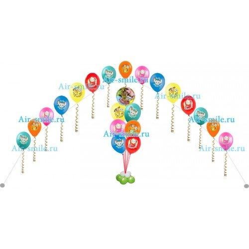 Арка из шаров с барбоскиными и фонтан