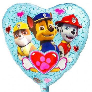 Фольгированное сердце с героями мультфильма щенячий патруль