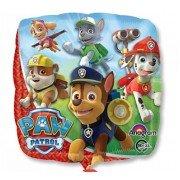 Фольгированный шар в форме квадрат с изображениями героев мультфильма «Щенячий Патруль»
