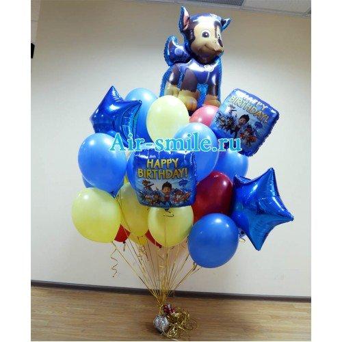 Букет из шаров с Чейзом и квадратами с поздравительными надписями
