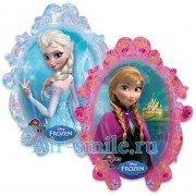 Шар фольгированный зеркало двусторонний «Анна и Эльза»