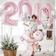 Отличная композиция с цифрами 2019 в нежно розовых цветах в год свиньи