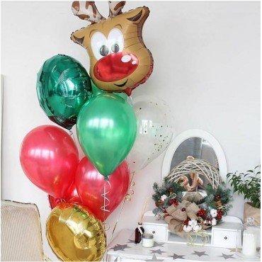 Прикольная голова оленя и шарики в стиле нового года