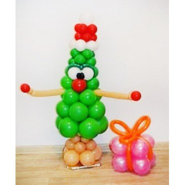 Фигура из шаров ёлка зелёная с подарком