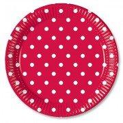 Тарелки Горошек красный