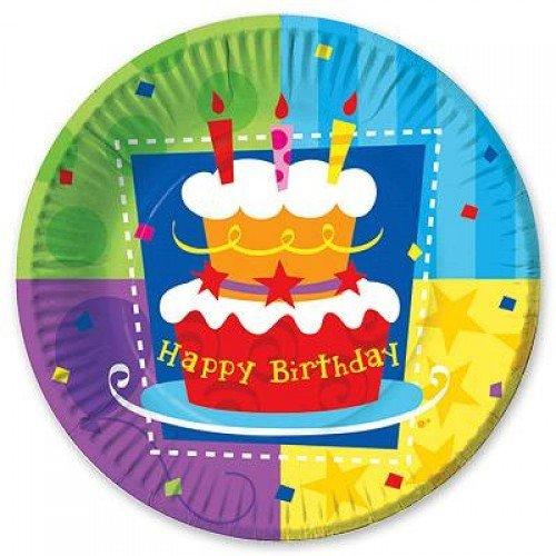 Тарелка разноцветная с днём рождения