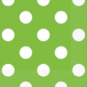 Светло зеленые салфетки в горошек