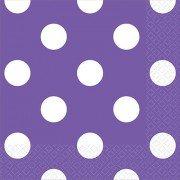 Салфетки фиолетовые Горошек