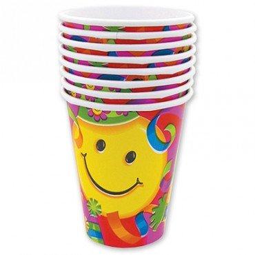 Бумажные стаканчики с изображением весёлых смайлов