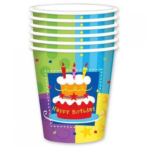 Бумажные стаканчики с изображением тортика на День Рождения