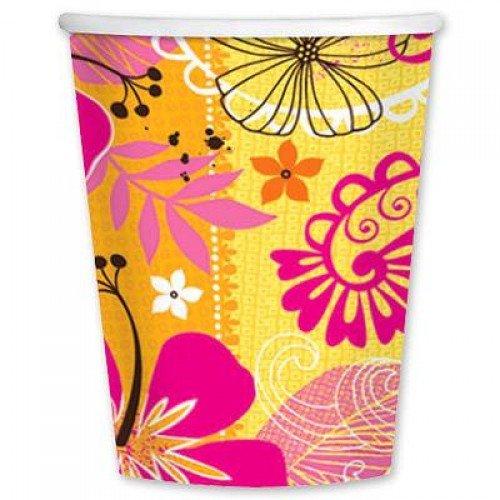 Бумажные стаканчики с изображением тропических листьев