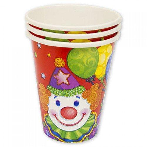 Бумажные стаканчики с изображением клоуна
