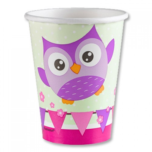 Пластиковые стаканчики с изображением совушек