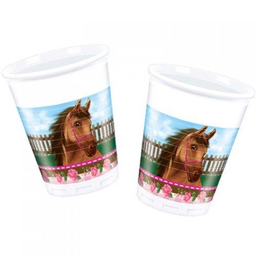 Пластиковые стаканчики с изображением лошадок