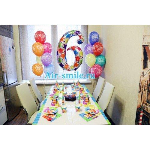 Сервировка стола для дня рождения и шарики